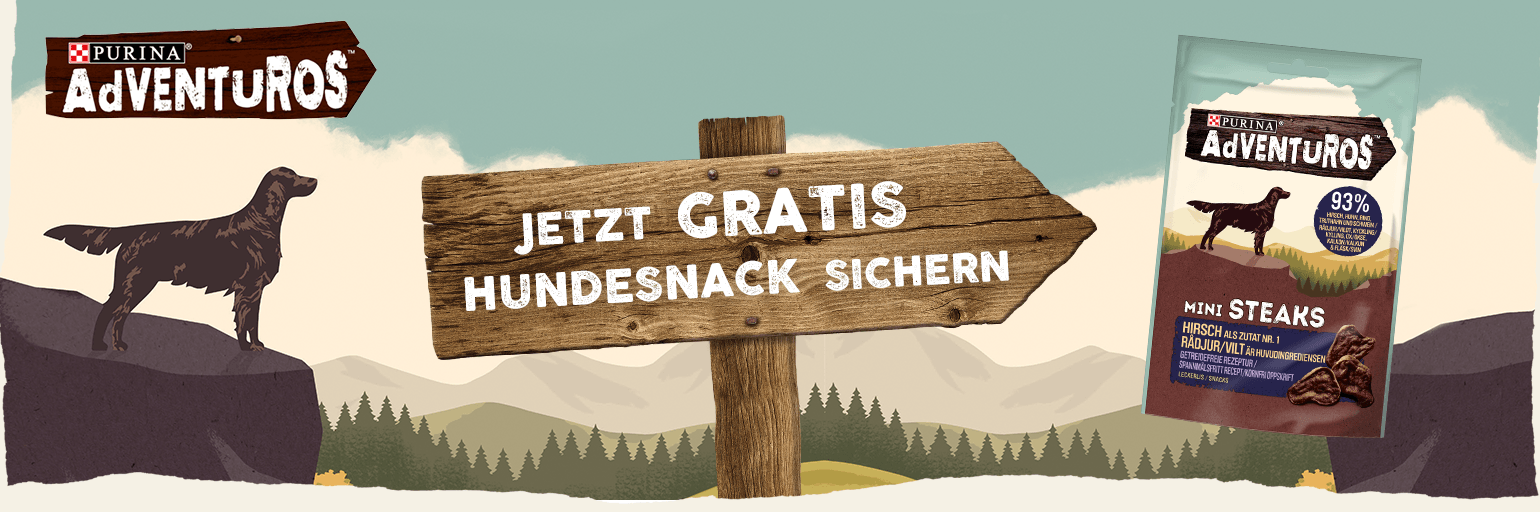 Gratis Hundeleckerlies von PURINA® AdVENTuROS™